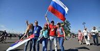 Российские болельщики перед матчем открытия Кубка конфедераций-2017 на стадионе Санкт-Петербург Арена.