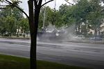 Танк снес фонарный столб на репетиции парада в Минске — видео ДТП