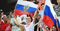 Болельщики сборной России во время товарищеского матча по футболу между сборными Венгрии и России.