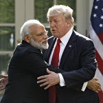 Встреча премьер-министра Индии Нарендра Моди и президента США Дональда Трампа