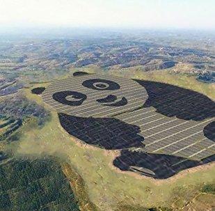 Солнечная электростанция в форме панды в Китае