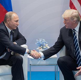 Президент РФ Владимир Путин и президент США Дональд Трамп (справа) во время беседы на полях саммита лидеров Группы двадцати G20 в Гамбурге.