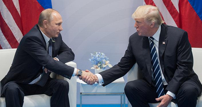 Президент РФ Владимир Путин и президент США Дональд Трамп во время беседы на полях саммита лидеров Группы двадцати G20 в Гамбурге.