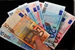 Денежные купюры. Евро. Архивное фото