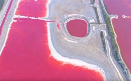 Самое соленое озеро Китая из-за жары стало разноцветным — видео