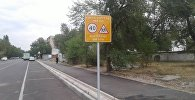 Дорожный знак установленный вблизи школы муниципальным предприятием Бишкекасфальтсервис