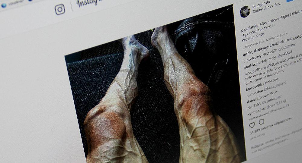 Велогонщик Павел Полянски опубликовал у себя в Instagram фото своих ног после 70-часовой гонки Тур де Франс