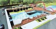Эскиз проекта подиума над рекой Ак-Буура в городе Ош