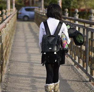 Школьница идет по улице. Архивное фото
