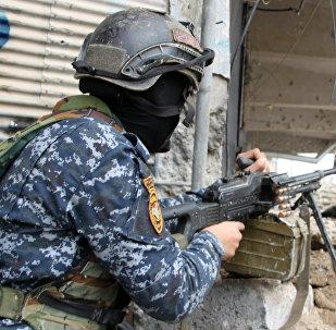 Военнослужащий иракской армии на огневой позиции в Мосуле. Архивное фото