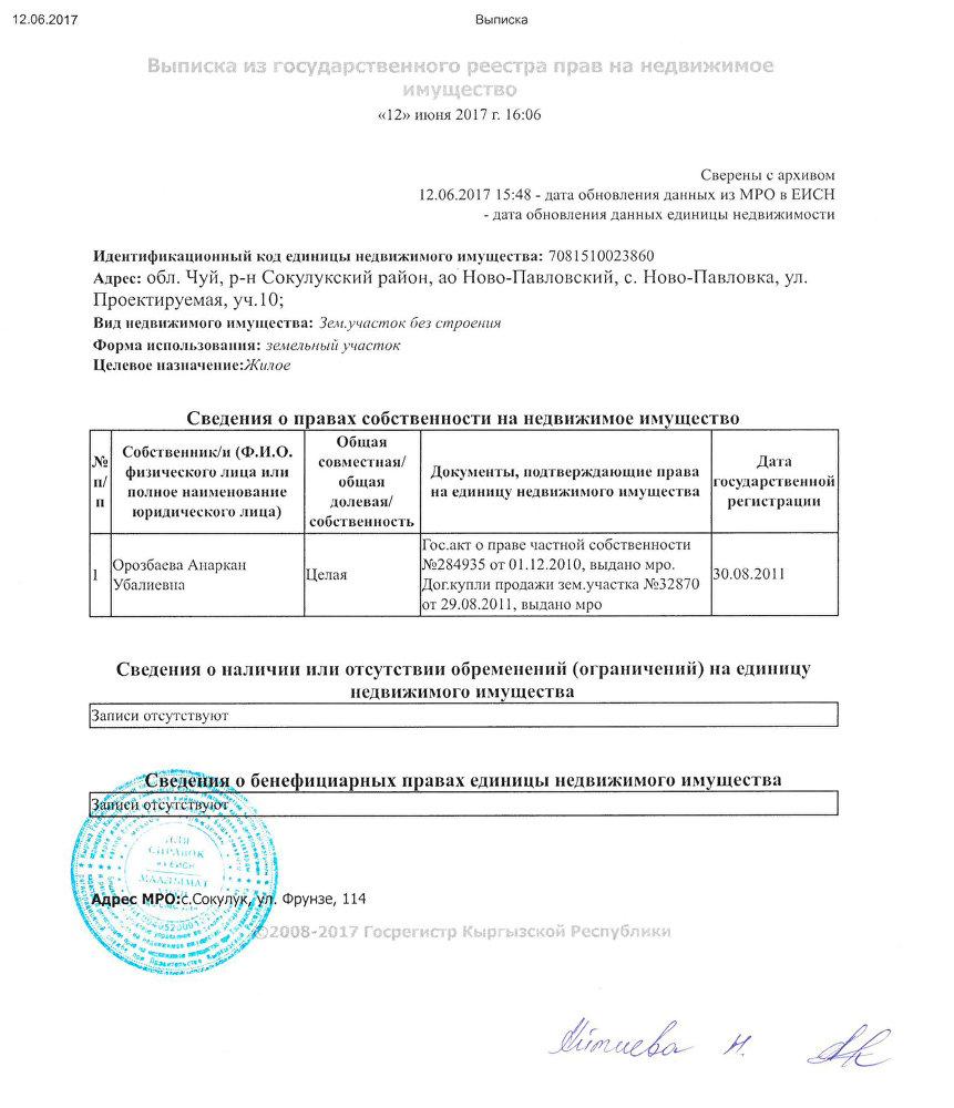 Выписка из государственного реестра прав на недвижимое имущество