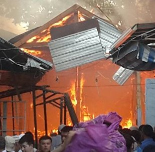 Пожар на центральном рынке города Узген