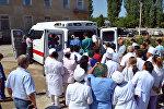 Автомобиль скорой помощи подаренный меценатом Мирланом Исагалиевым для областной больницы Таласа