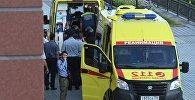 Автомобили скорой медицинской помощи у здания Московского областного суда. В Московском областном суде произошла перестрелка, трое арестованных были убиты при попытке побега. Архивное фото