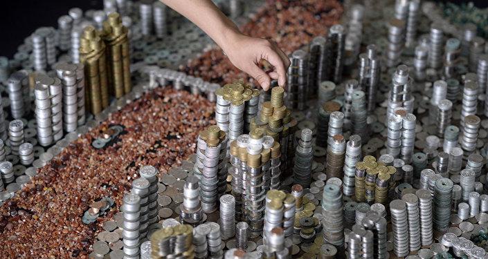Монеталардан жасалган шаар. Архивдик сүрөт