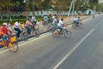 Ош шаарындагы жаңы веложол салынды. Курулуштун асмандан көрүнүшү