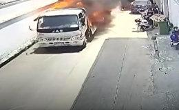 Как в боевиках ЂЂЂ храбрец отогнал пылающий грузовик от зданий