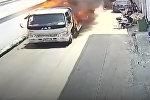 Как в боевиках — храбрец отогнал пылающий грузовик от зданий