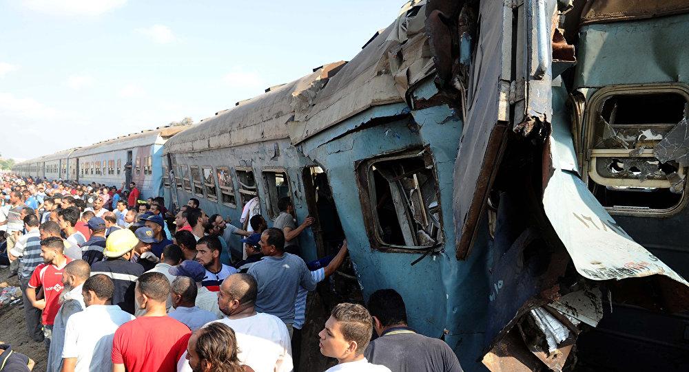 Столкновение поездов в пригороде Александрии в Египте