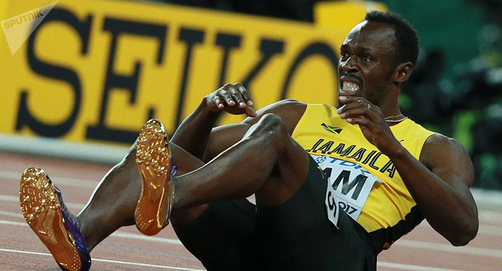 Усэйн Болт (Ямайка) в финальном забеге эстафеты 4х100 метров среди мужчин на чемпионате мира 2017 по легкой атлетике в Лондоне.