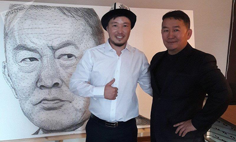 Изготовление портрета президента Монголии Халтмаагийн Баттулга в стиле String art