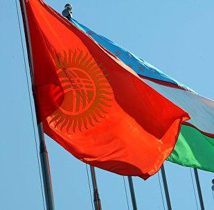 Флаги Кыргызстана и Узбекистана. Архив