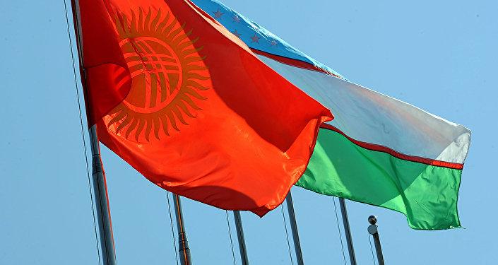 Флаги стран Кыргызстана и Узбекистана. Архивное фото