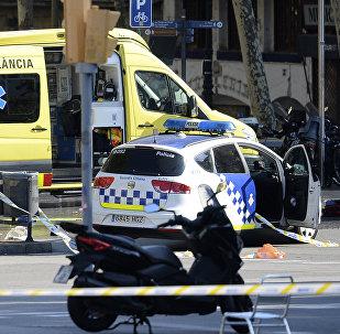 Полицейские и медицинский персонал стоят около полицейских машин и скорой помощи в оцепленном районе после того, как машина въехала в толпу, ранив нескольких человек на Рамбла в Барселоне. 17 августа 2017 года