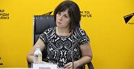 Соучредитель общественного фонда Право на жизнь бездомным животным Алла Кобцова на пресс-конференции в мультимедийном пресс-центре Sputnik Кыргызстан.