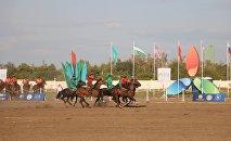 Игроки сборной Кыргызстана и Монголии во время игры на чемпионате мира по кок-бору в Астане