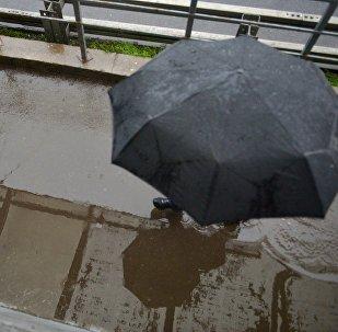 Прохожий под зонтом во время дождя. Архивное фото