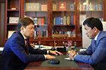 Премьер-министр Сапар Исаков менен Мамлекеттик мүлк фондунун төрагасы Болсунбек Казаков менен жолукту