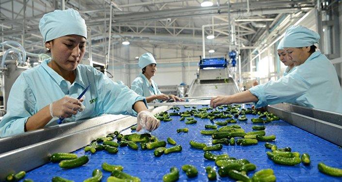 Рабочие завода по производству консервированных фруктов и овощей. Архивное фото