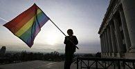 Радужный флаг - символ движения геев и лесбиянок. Архивное фото