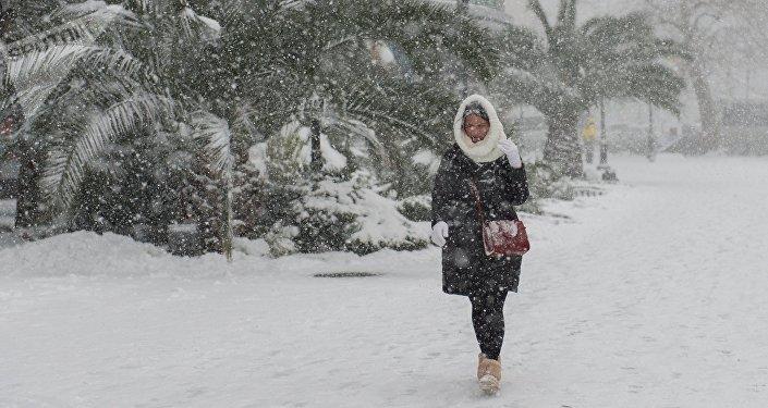 Девушка идет по улице во время сильного снегопада. Архивное фото