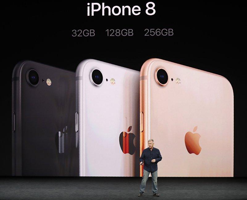 iPhone 8 представленный корпорацией Apple на конференции в штате Калифорния. 12 сентября 2017 года
