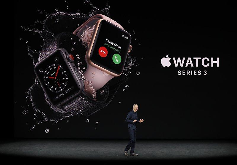 Apple Watch Series 3 представленный корпорацией Apple на конференции в штате Калифорния. 12 сентября 2017 года