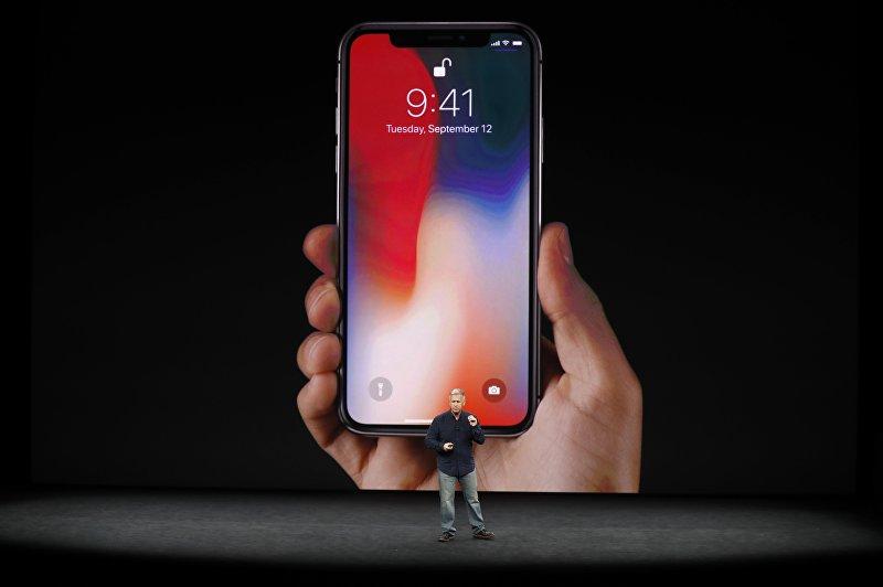 iPhone X представленный корпорацией Apple на конференции в штате Калифорния. 12 сентября 2017 года