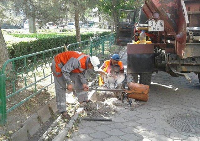 Ремонт мусорных урн на Чуй проспекте.