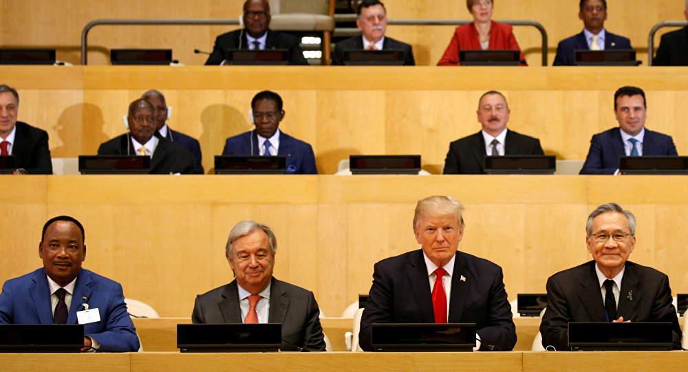 Президент США Дональд Трамп принимает участи в заседании о реформе ООН в штаб-квартире организации в Нью-Йорке, США. 18 сентября 2017