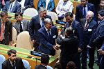 Президент Кыргызской Республики Алмазбек Атамбаев в рамках рабочего визита в город Нью-Йорк Соединенных Штатов Америки принял участие в работе 72-й Генеральной ассамблеи ООН. 19 сентября, 2017 года