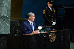 Президент Кыргызстана Алмазбек Атамбаев во время вытупления на заседании Генеральной Ассамблеи ООН