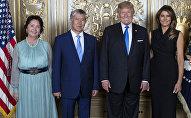 Президент КР Алмазбек Атамбаев и Раиса Атамбаевы с Дональдом и Меланией Трамп