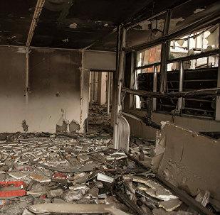 Здание бывшей Генеральной прокуратуры после пожара. Архивное фото