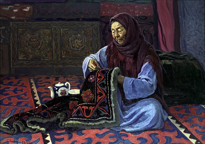 Репродукция картины Г.А.Айтиева Вышивальщица А.Бекбоева