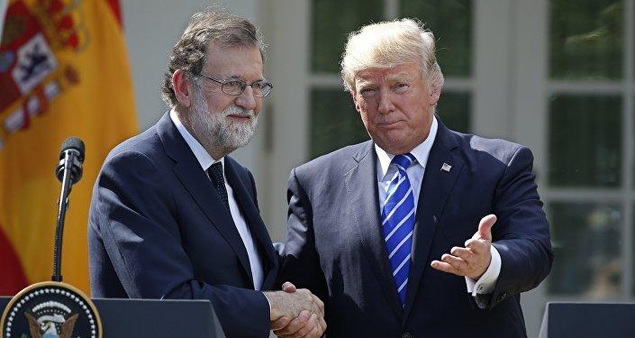 Президент США Дональд Трамп на встрече с премьер-министром Испании Мариано Рахое в Белом доме в Вашингтоне, США, 26 сентября 2017 года