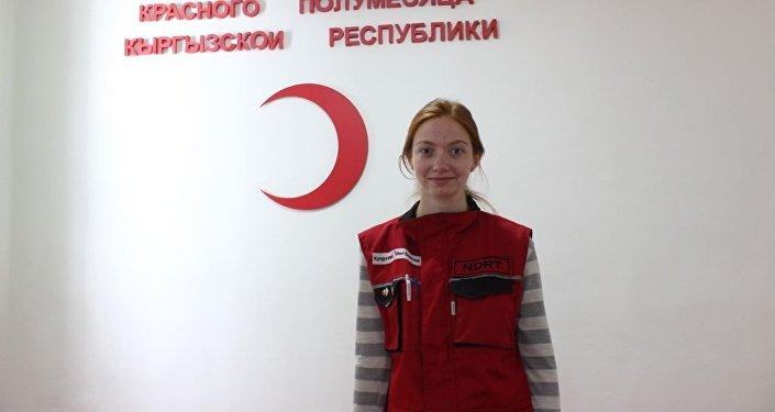 Сотрудник Красного Полумесяца КР по оказанию первой психологической помощи пострадавшим Элина Брябина