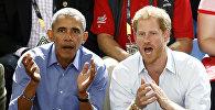 АКШнын мурдагы преизденти Барак Обама менен Британиянын ханзадасы Генри Уэльский Торонтодогу баскетбол беттешине барды