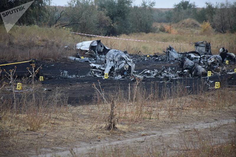 Обломки самолета АН-28 потерпевшего крушение близ Алматы