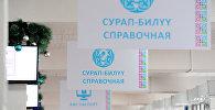 Вывески в здании в центре обслуживания населения в Бишкеке. Архивное фото